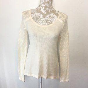 NWT Lucky Brand Medium Waffle Knit Lace Top 1235